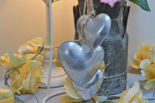 Hanging Four Silver Hearts 1