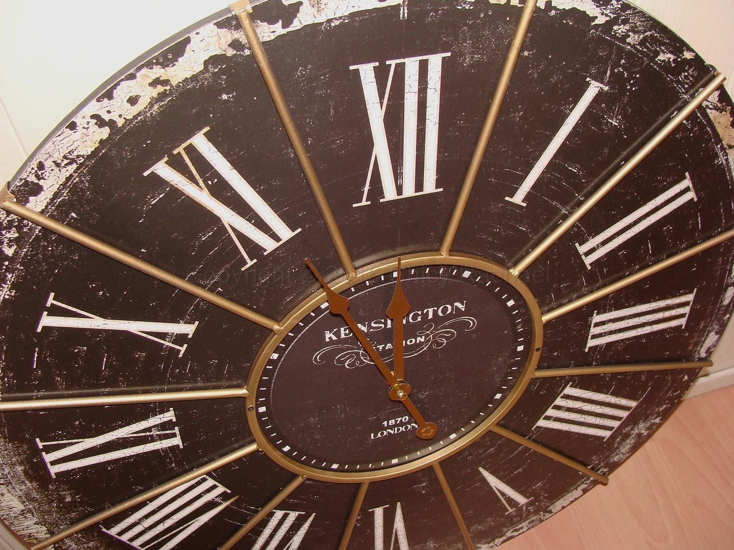 Black Kensignton Station Antique Large Wall Clock Chicy