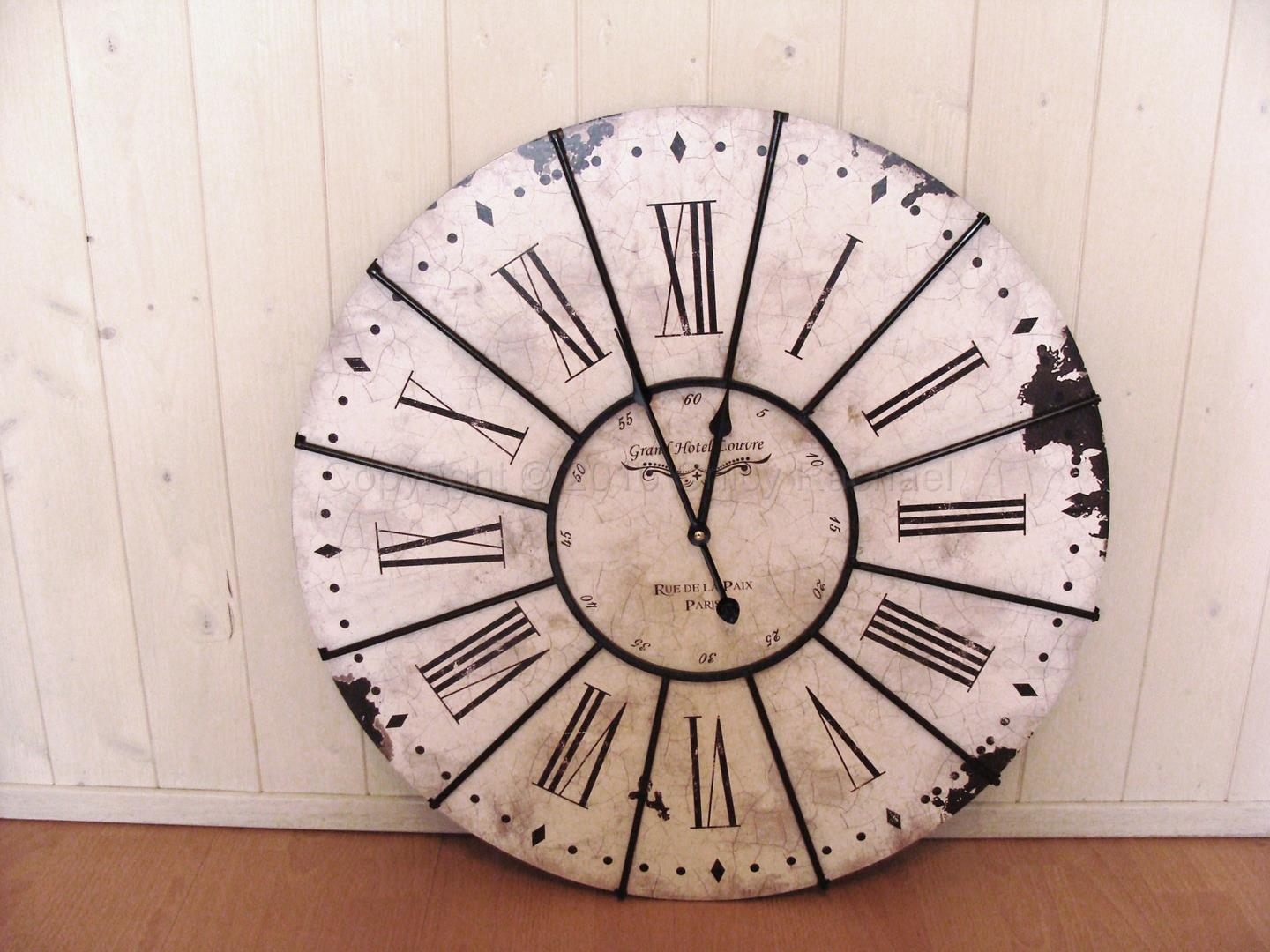 Grand Hotel Louvre Large Antiqued White Wall Clock Chicy Rachael