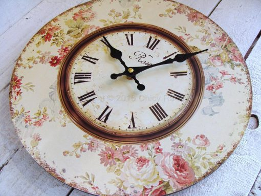 Pink Floral Wall Clock 2