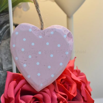 Pink Polka Dot Hanging Heart