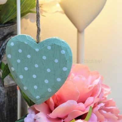 Sage Polka Dot Hanging Heart