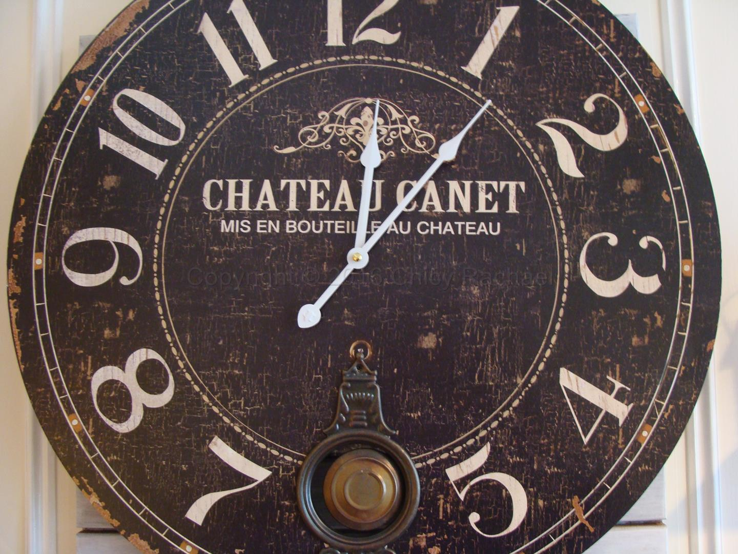 Large Vintage Distressed Chateau Pendulum Wall Clock