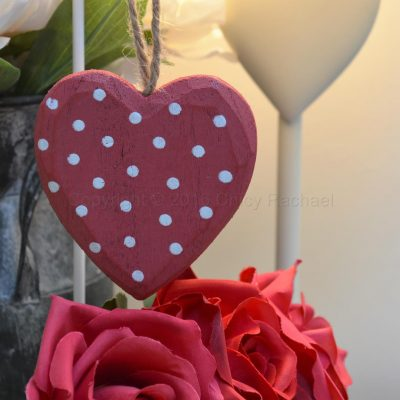 Red Polka Dot Hanging Heart