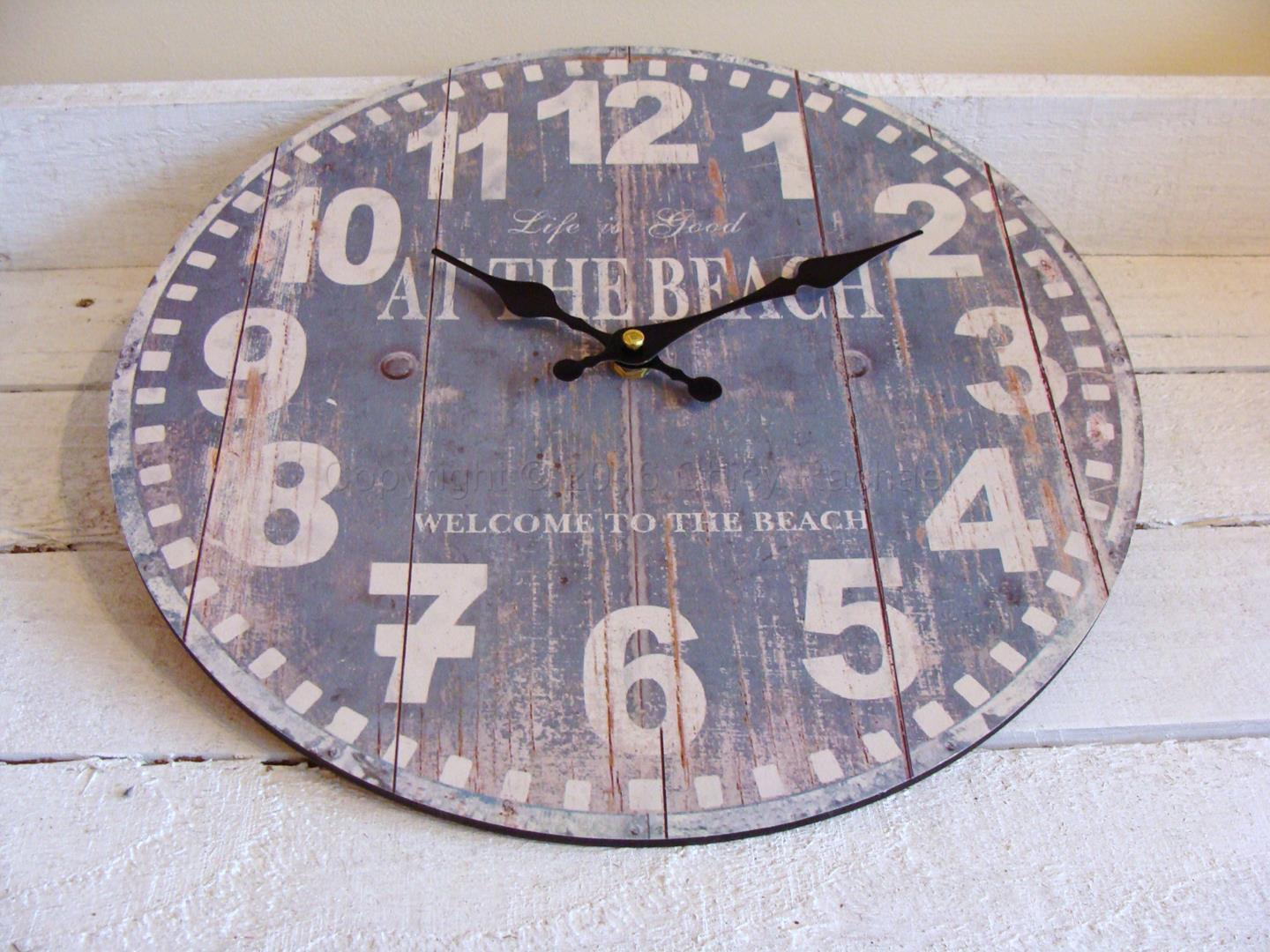 life is good at the beach wall clock chicy rachael. Black Bedroom Furniture Sets. Home Design Ideas