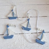 Blue And White Sail Boat Garland