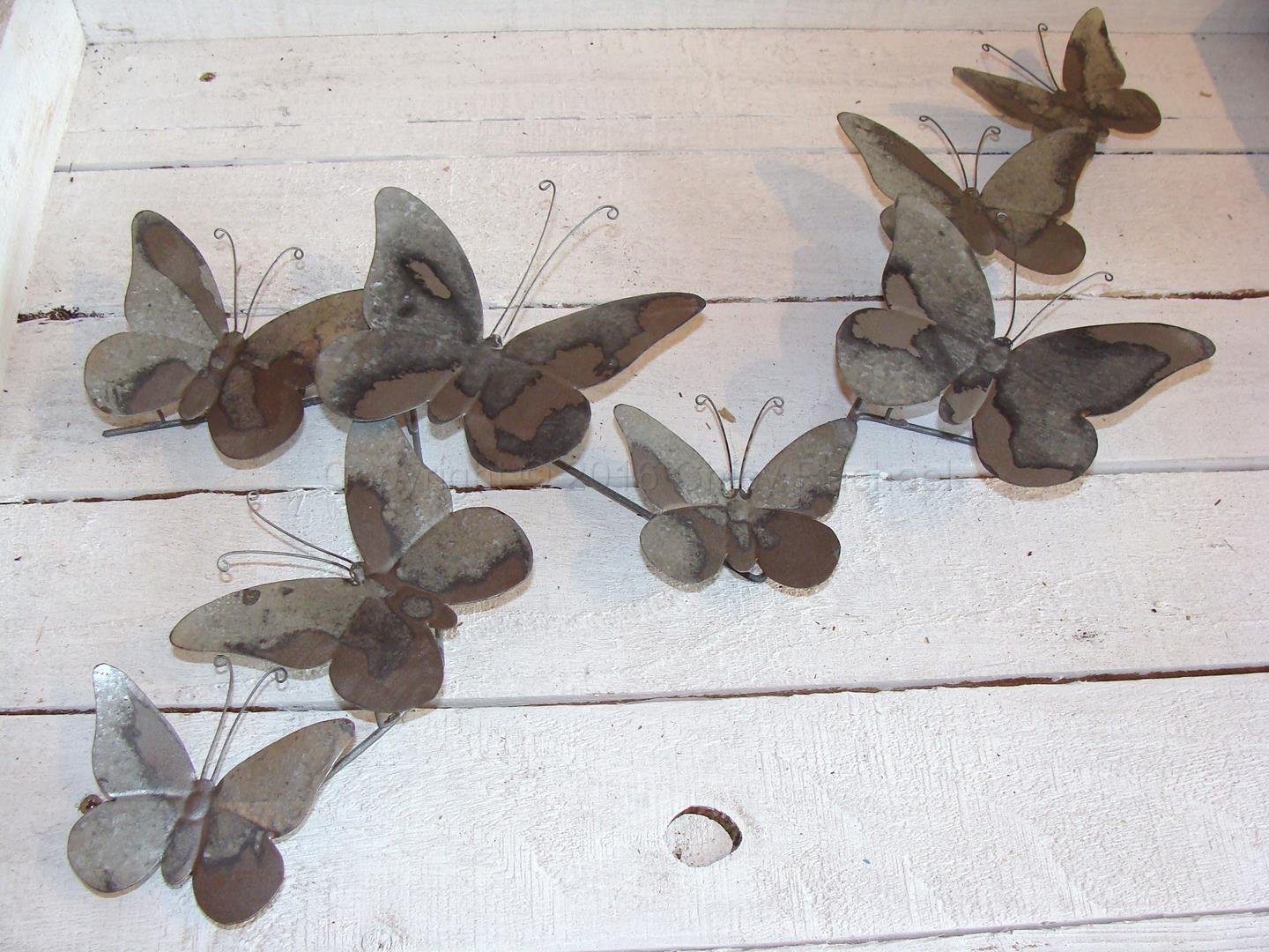 Grey Metal Butterfly Wall Art