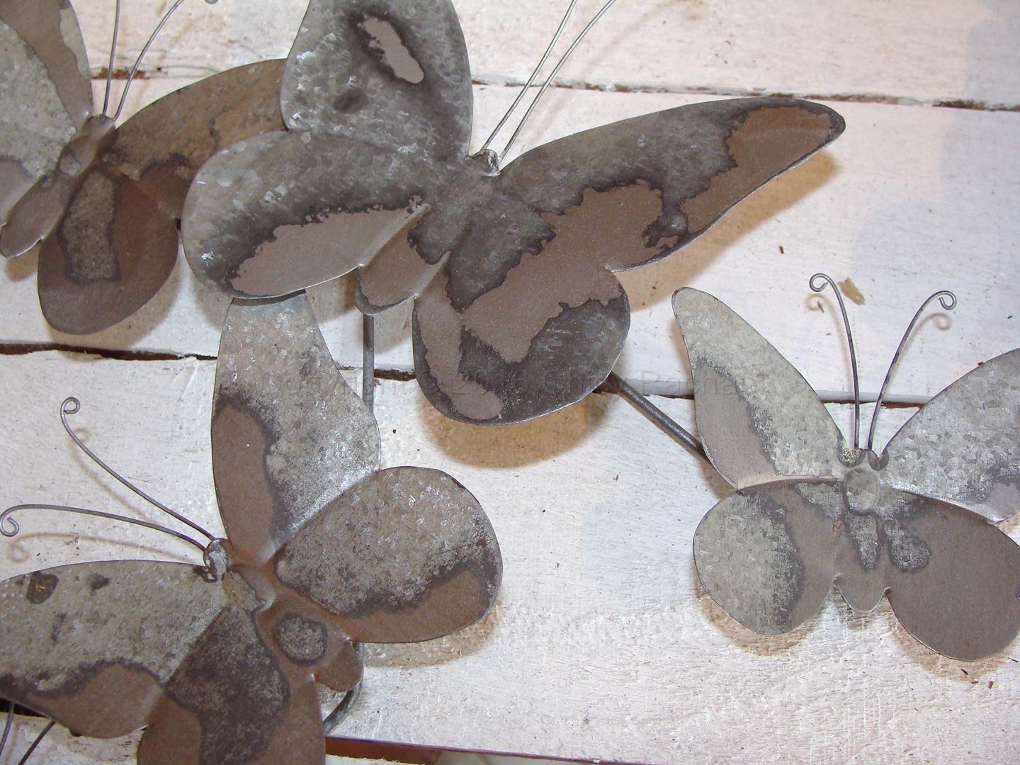 Grey Metal Butterfly Wall Art 3