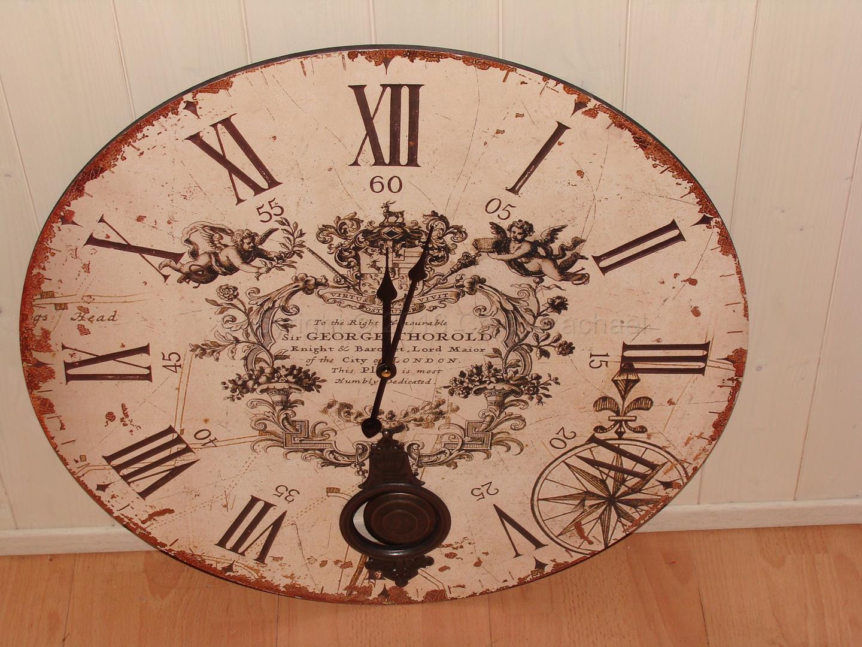Large Cream Pendulum Wall Clock
