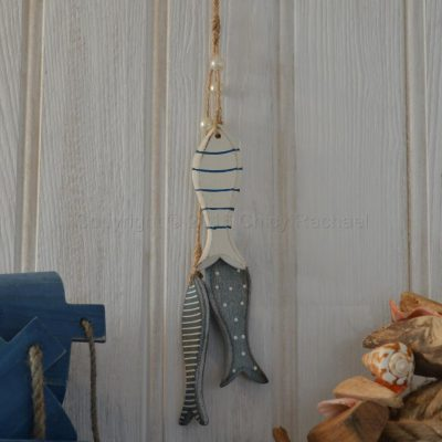 Hanging Blue Wooden Fish