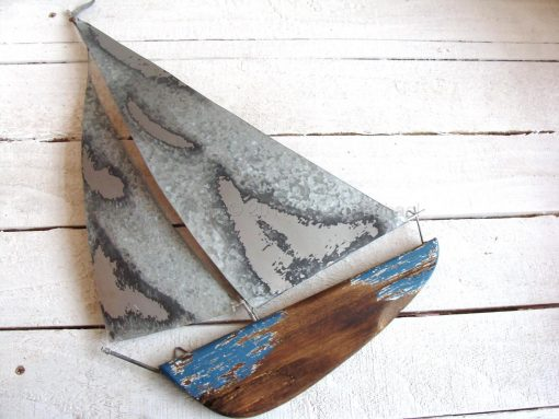 Tin And Wooden Yacht Wall Art