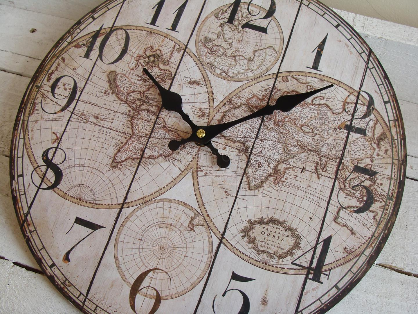 Small vintage world map wall clock chicy rachael small world map wall clock 1 gumiabroncs Gallery
