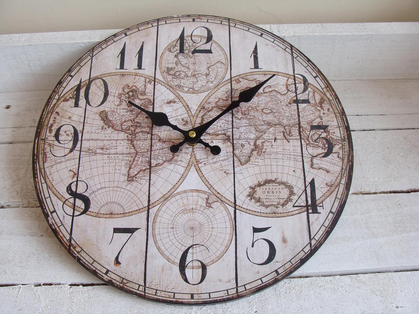 Small vintage world map wall clock chicy rachael small world map wall clock gumiabroncs Image collections