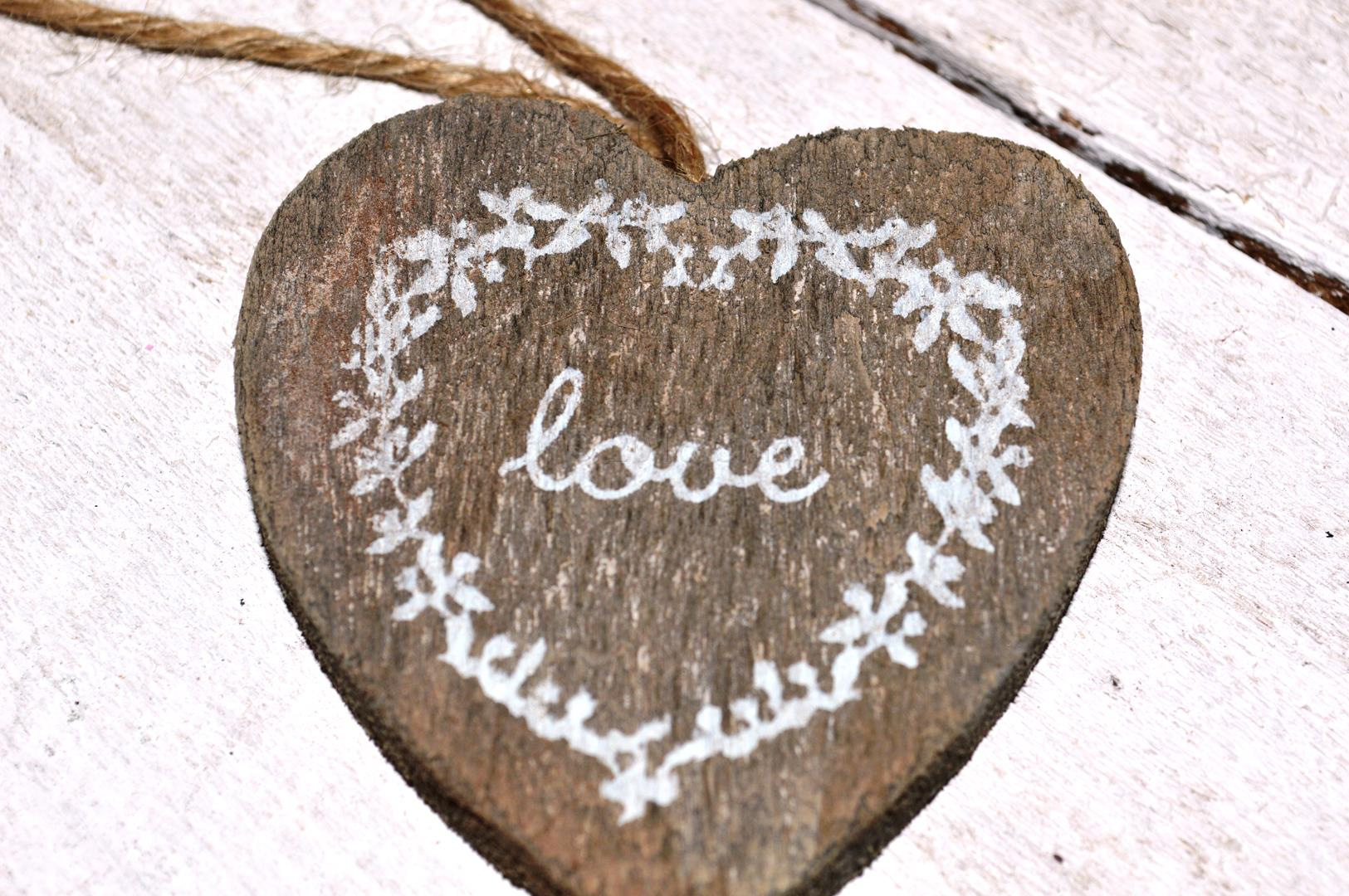 Grey Wooden Love Hanging Heart 3