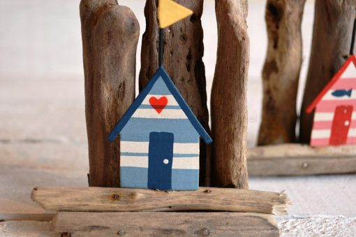 Blue Beach Hut On Driftwood 2