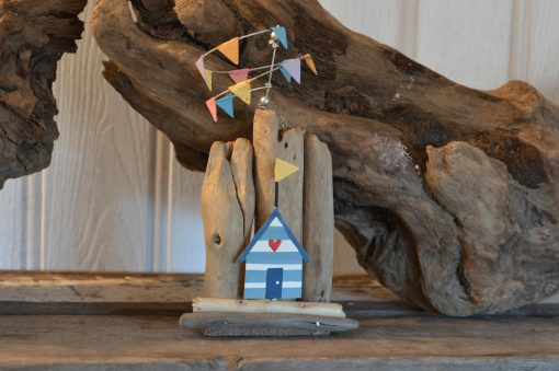Blue Beach Hut on Driftwood