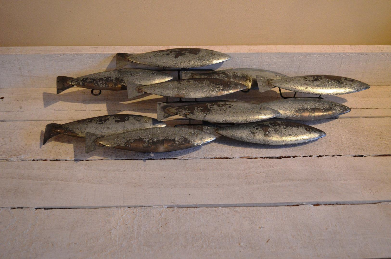 Metal school of fish wall art chicy rachael for Fish wall decor
