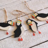 Set Of Four Hanging Puffins 2