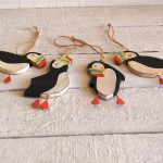Set Of Four Hanging Puffins 1