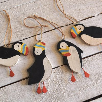 Set Of Four Hanging Puffins