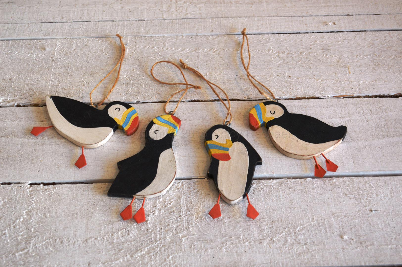 Set Of Four Hanging Wooden Puffins Chicy Rachael