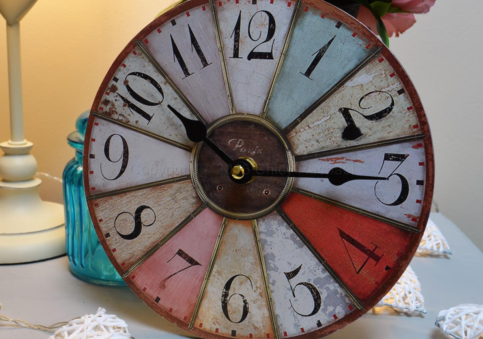Small Vintage Distressed Pastel Coloured Clock Chicy Rachael