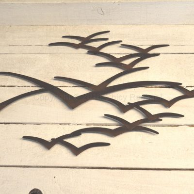 Brown Metal Seagulls In Flight Wall Art