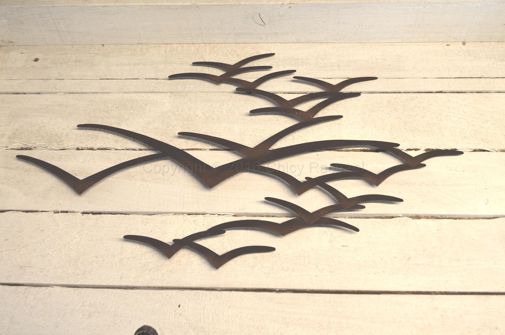 Brown Metal Seagulls In Flight Wall Art
