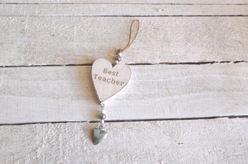 Wooden Best Teacher Hanging Heart