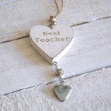 Wooden Best Teacher Hanging Heart 1