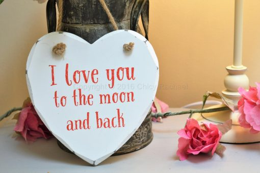 I Love You To The Moon And Back Heart Plaque
