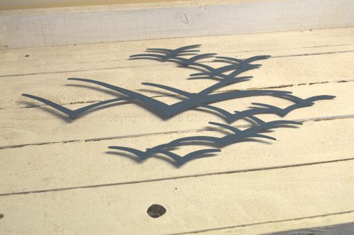 Blue Metal Seagulls in Flight Wall Art 1