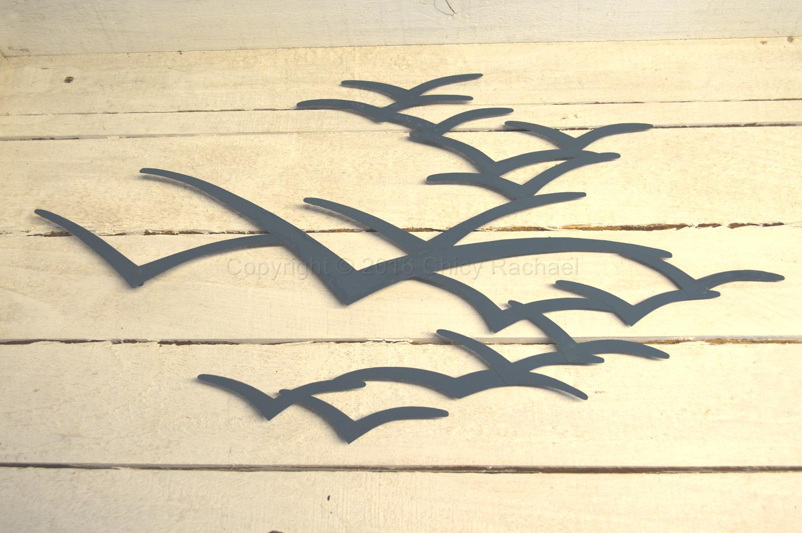 Blue Metal Seagulls in Flight Wall Art