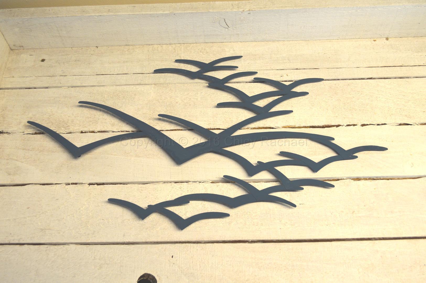 Blue Metal Seagulls In Flight Wall Art - Chicy Rachael