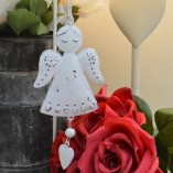 Metal Hanging Heart Angel Decoration