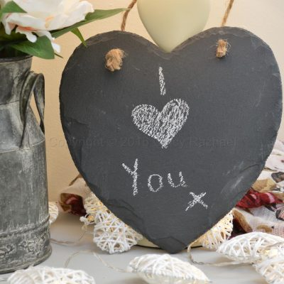 Hanging Natural Slate Heart Chalkboard