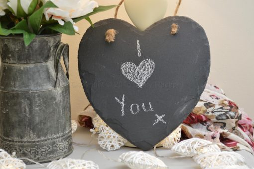Hanging Natural Slate Heart Chalkboard