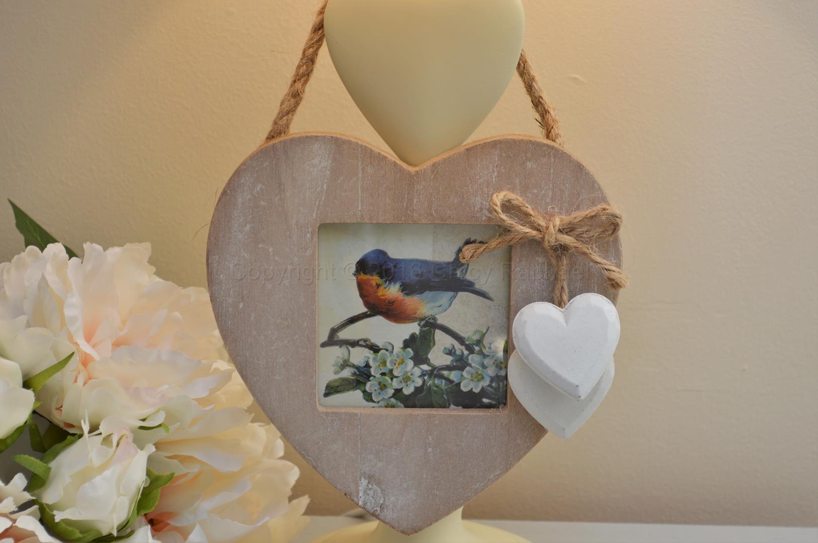 White Washed Hanging Heart Photo Frame