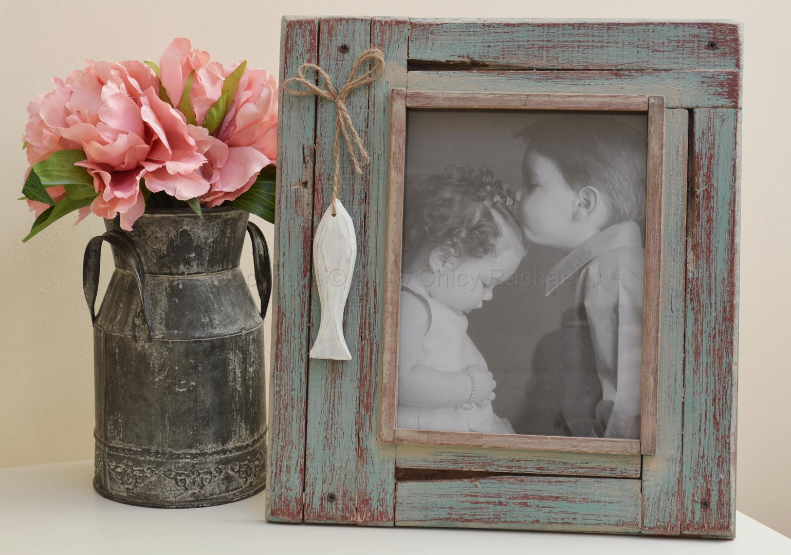 Distressed Green Fish picture Frame