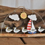 Cool Dude Seagull Standing On Driftwood Hanging Decoration 1