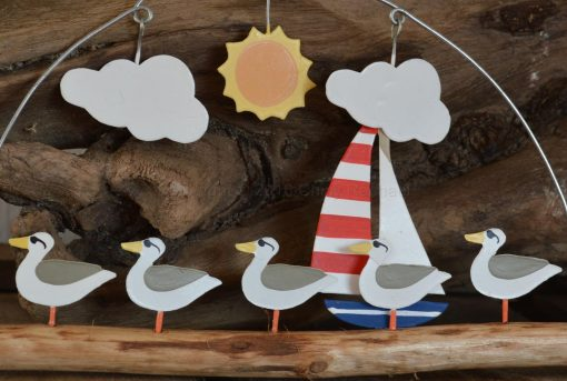 Cool Dude Seagull Standing On Driftwood Hanging Decoration