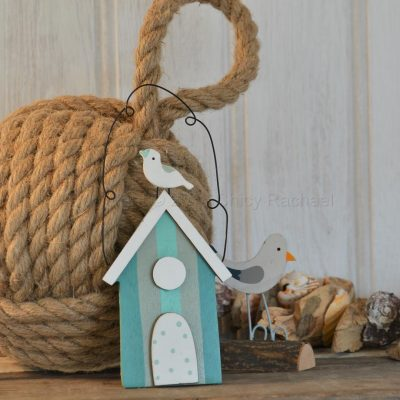 Hanging Aqua Beach Hut With Seagull Decoration