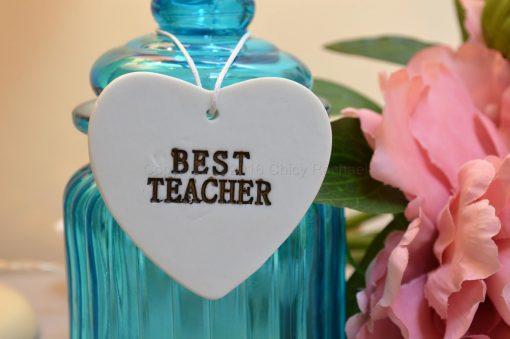 Ceramic Best Teacher Hanging Heart