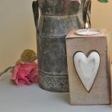 Large Wooden Heart Tea Light Holder