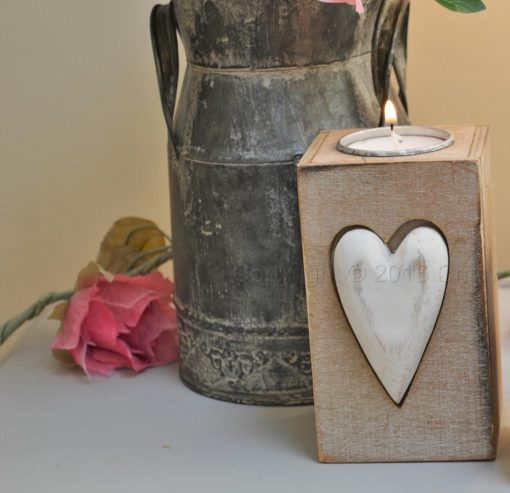 Large Wooden Heart Tea Light Holder