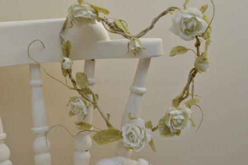 Cream Rose Flower Heart Garland