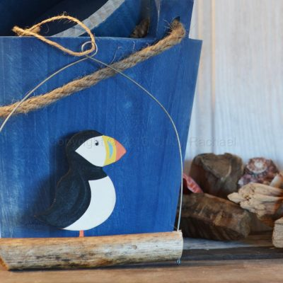 Hanging Puffin On Driftwood Decoration