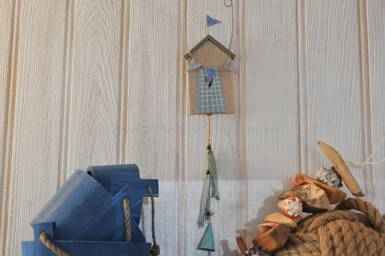 Hanging beach hut and fish decoration chicy rachael for Beach hut decoration ideas