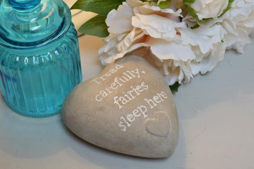 Tread Carefully Fairies Sleep Here Heart Pebble