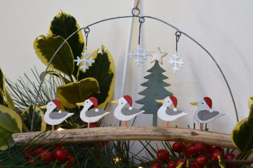 Seagulls In Christmas Hats On Driftwood 1